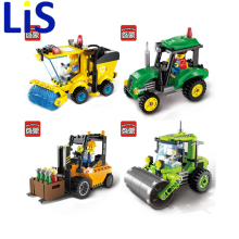 Lis ENLIGHTEN City Construction Road Roller Forklift Truck Tractor Sweeper Truck Building Blocks Kids Toy Compatible lepin