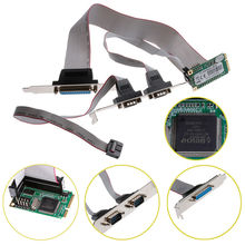new Mini PCI-e 2 Serial Ports + 1 Parallel I/O Card Mini PCIe to RS232 DB9 Adapter #C(China)