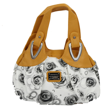 Fashion handbag Women PU leather Bag Tote Bag Printing Handbags Satchel -Black Rose + yellow Handstrap(China)