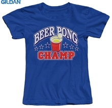 GILDAN Beer Pong Champ Funny Drinking Women's T-Shirt Good Quality Comfortable Soft Tops T Shirts Short Sleeve Lady Top Shirts(China)