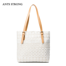ANTS STRONG literature art lace handbag/Personality casual totes canvas shoulder bags mommy gift(China)