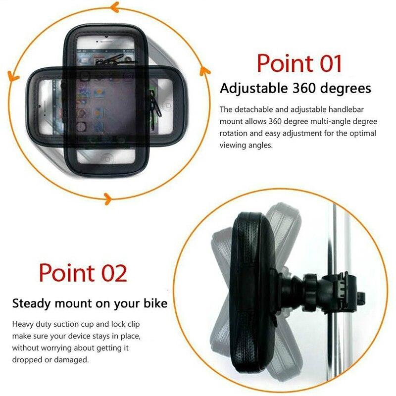 Fimilef Motorcycle Bike Ride Phone Waterproof Bag Case Adjustable Holder Handlebar Mount Dustproof Bag Navigation Phone Stand (5)