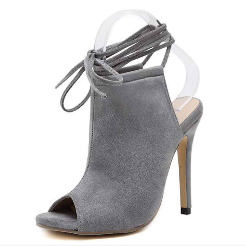 2017 Summer Spring Streetwear Sexy Ankle Boots Sandals Women Slingback Lace Up Peep Toe Pump High Heel Stiletto Party Shoes<br><br>Aliexpress