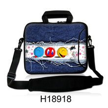 "Computer Handle Carring Kits10""13""14""15""17"" Neoprene Shoulder Kits Cartoon Smile Balls Type Laptop Messenger Package Bag For IBM"