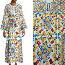 2m polyester silk fabric,handicrafts majolica prints silk stretch satin fabric, fashion women long dress imitate silk fabric(China)
