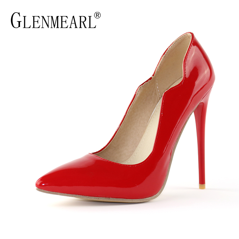 Brand Woman Shoes High Heels Spring Single Pumps Women Patent leather Thin High Heels Shoes Black Pointed Toe Wedding Shoes DE<br>