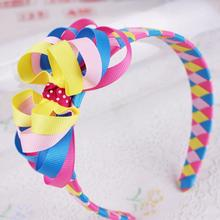 12pcs  Free Shipping Rainbow Ribbon Headband Rainbow Woven Headband