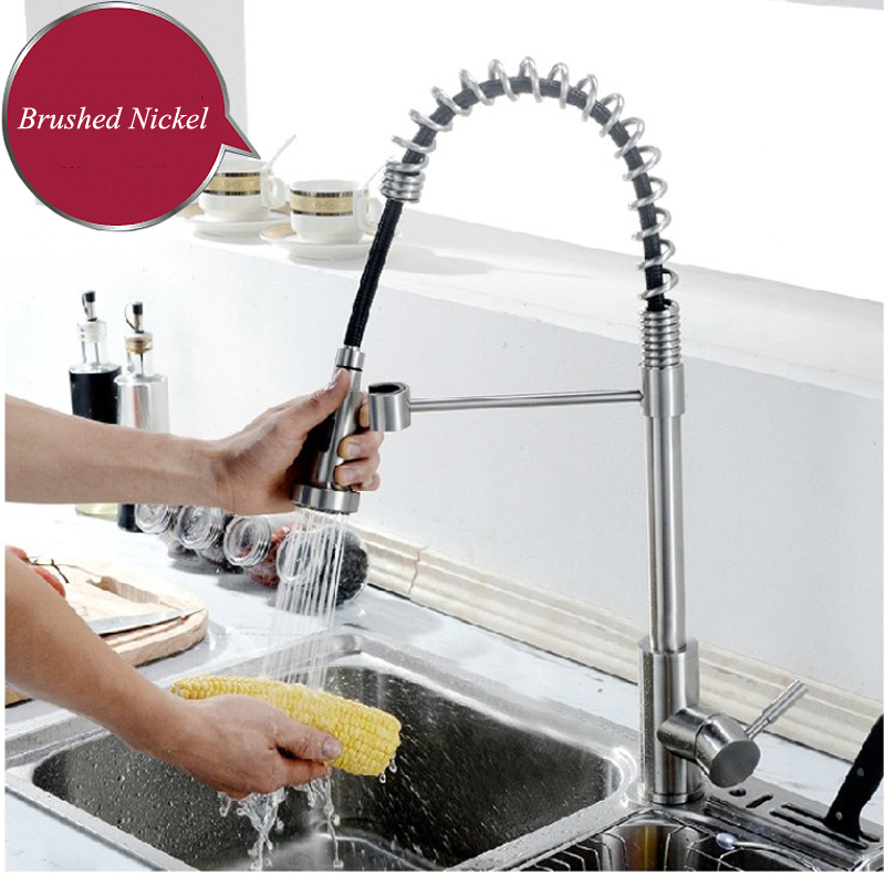 Single Handle Brushed Nickel Pull Out High Arch Prep Sprayer Kitchen Sink  Faucet, Commercial Pull