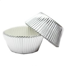 100 x Paper Cake Cup Cupcake Cases Liners Muffin Kitchen Baking Wedding Party Silver(China)