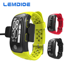 LEMDIOE Heart Rate Smart Wristband GPS Track Record Smart Band 2 Sleep Pedometer Bracelet Fitness Tracker Smart Watch Relogio
