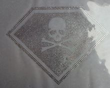 2pc/lot white clear Skull superman iron on crystal transfers design hot fix rhinestone transfer motifs  applique patches shirt