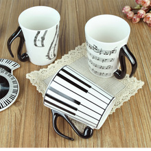 Free shipping Creative Zakka Cute Mug Piano Key Stave Ceramic Music Cup Travel Coffee Mug