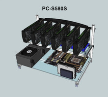 PC-S580S Distributed Computer Famework 6 Graphics Card USB PCI-E Cable Computer Case BTC LTC Coin Mining Case  Server Chassis