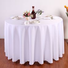 Big Size Polyester White Round Table Cloth Wedding Tablecloth Party Table Cover Square Dining Table Linen Rectangular Wholesale(China)