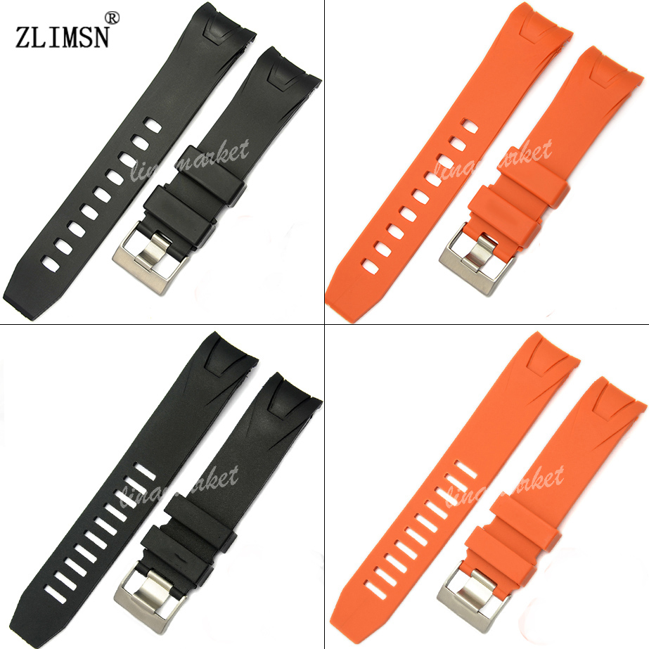20mm 22mm Smooth Orange Black Silicone Rubber Watch band strap Bracelet Curved end<br><br>Aliexpress