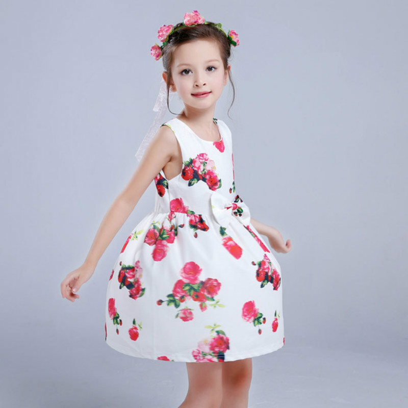 Baby Girl Flower Kids Dress 2016 summer new Children Clothing Cheap Brand Girls Clothes for Party Holiday Toddler Free Shipping(China (Mainland))