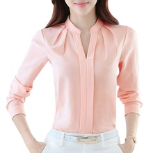 Women Blouses Long Sleeve Chiffon Blouse Shirt Women 2017 Blusa Feminina Tops Fashion Chemise Femme Shirts White Pink Purple(China)