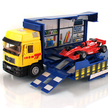 F1 racing car transporter truck repair Brinquedos car transport toys scania alloy model kids toys Repair station may lift truck