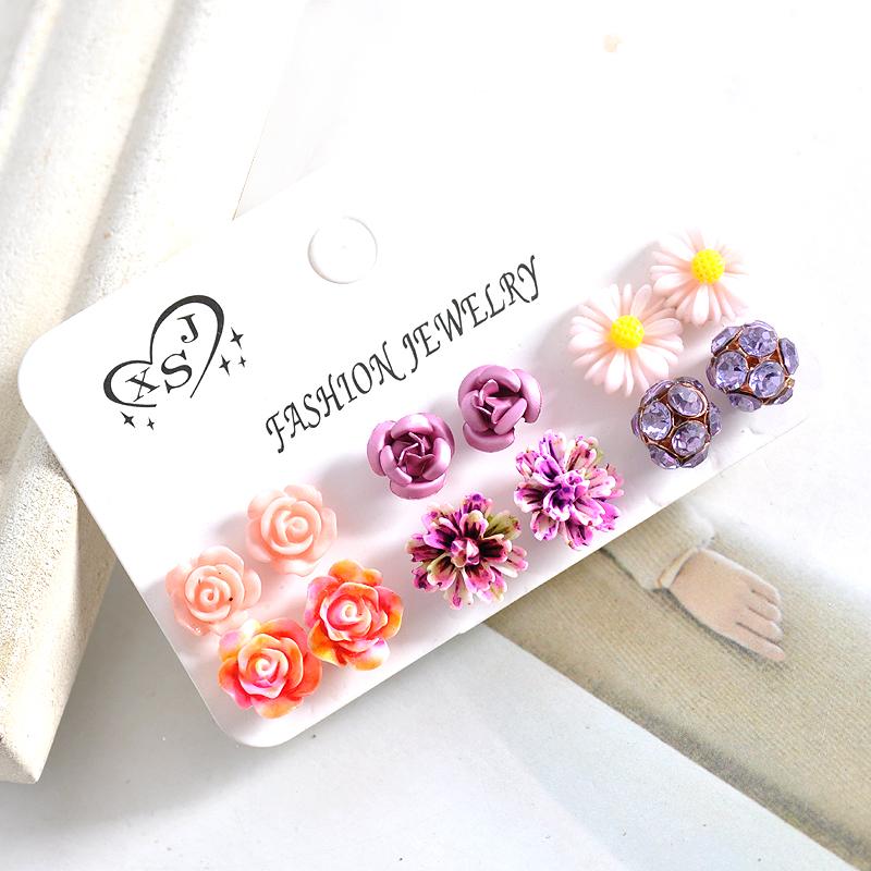 Hot new fashion women jewelry, girls birthday party flower shaped stud earrings, beautiful powder, purple yellow green Earrings 25