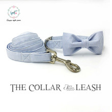 blue striped dog or cat collar set with bow tie and leash personal custom pet pupply designer pet necklace