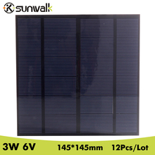 SUNWALK 16V 3W Polycrystalline silicon Mini Solar Panel module Cell DIY Charger DC Battery Test 145*145mm - ChinaBrandCharger Store store