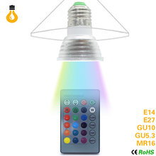 E27 GU10 E14 MR16 Led Dimmable RGBW Led Bulbs 9W AC220V Colorful RGB Led Lamp Chandeliers Led Light + 24 Key Remote Controller(China)