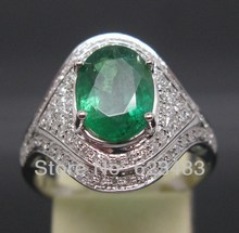 Solid 14K White Gold Natural Colombia Green Emerald Diamond Wedding Ring