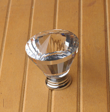Exclusive Distribution10Pcs 40mm Diamond K9 Crystal Glass Aluminium Door Drawer Swarovski Cabinet Wardrobe Pull Handle Knobs(China)