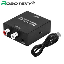 Digital To Analog Audio Converter Adapter Digital Optic Coaxial Toslink To L/R RCA SPDIF Audio Cable For Apple TV Bru-ray Player