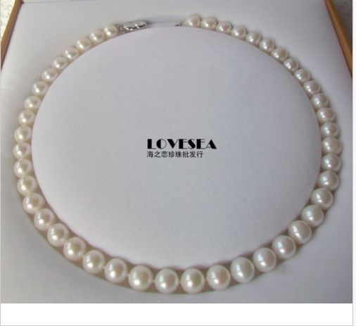 free shipping classic 10-11mm AAA WHITE PEARL NECKLACE 18INCH 925S