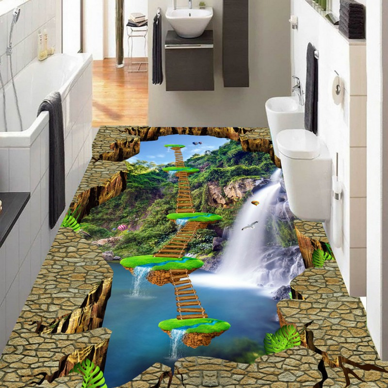 Free Shipping Waterfall Suspension Island Wood flooring wallpaper kitchen square decorative waterproof floor mural<br>