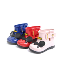 Mini sed kids rain boots boys and girls cute skid shoes children pu boots baby water shoes bow blue pink red 11.8cm -16.8cm