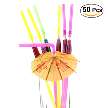 50pcs Fluorescent Umbrella Straws Disposable Drinking Suckers Tubularis for Bar Club DIY Drink (Mixed Color)