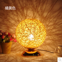 Modern Home Table Lamp Hand-made Hemp rope Decoration Desk Lamp Lampshade Ball Table Light Free Shipping