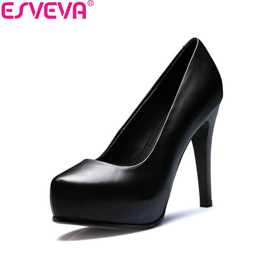 ESVEVA 2018 Women Pumps Thin/Square High Heel Genuine Leather PU Slip on OL Shoes Platform Spring Ladies Work Shoes Size 34-39<br>