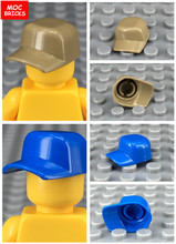 10pcs/lot 2060A & 2060B Blue & Light brown Cap Baseball Sport hat Action Figure Educational Building Blocks Toys Kids gifts(China)