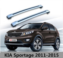 Car Aluminum Roof Rack Rail baggage luggage Cross Bar For KIA Sportage 2010 2011 2012 2013 2014 2015 (With Lock) (Silver black)
