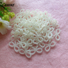 SHINE 100pcs/lot 18X8mm Ivory Butterfly Knot Shape Scrapbook Simulated Pearl Beads Sewing Buttons DIY Material Findings