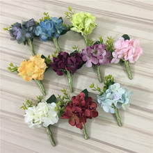 Artificial Hydrangea Silk Flower Boutonnieres Groom Buttonhole Groomsman Best Man Wedding Flowers Party Man Suit Decoration