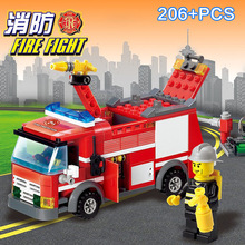 City Fire Engine Truck Building Block Set Firefighters   Educational Brick Toy For Kids Compatible 8054