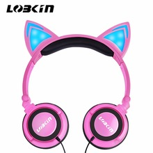 Lobkin Foldable Wired Over Ear Kids Headphone with Glowing Light LED for Children Cosplay Fans,Cat Ear Headphones (Pink)(China)