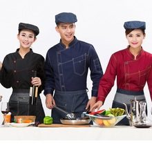 Chef clothing long - sleeved autumn and winter hotel kitchen uniforms restaurant restaurant chef men and women working clothes