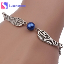 1 PC New Imitation Pearls Silver Jewelry Angel Wings Dove Of Peace Bracelet for Women Lady Beauty Jewelry Perfect Gift Wholesale(China)