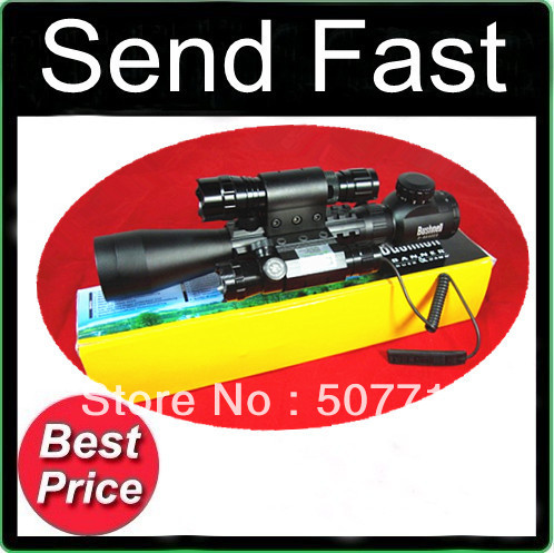 Free Shipping hunterking 3-9x40E R&amp;G Rifle Scope With tri weaver rail LXGD Green Laser sight 501B flashlight torch airsoft<br><br>Aliexpress