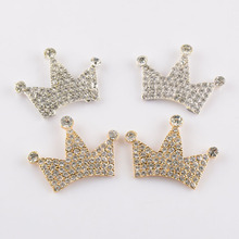 10pcs/lot  Alloy Crown With Czech Crystal Rhinestones Button Three Stars Queen Crown Gold & Silver Color DIY Accessory PJ22