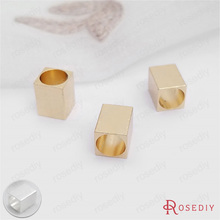 (30604)20PCS Lenth 8MM hole 5MM 24K Champagne Gold Color Plated Brass Square Large hole Tube Beads Diy Jewelry Findings(China)