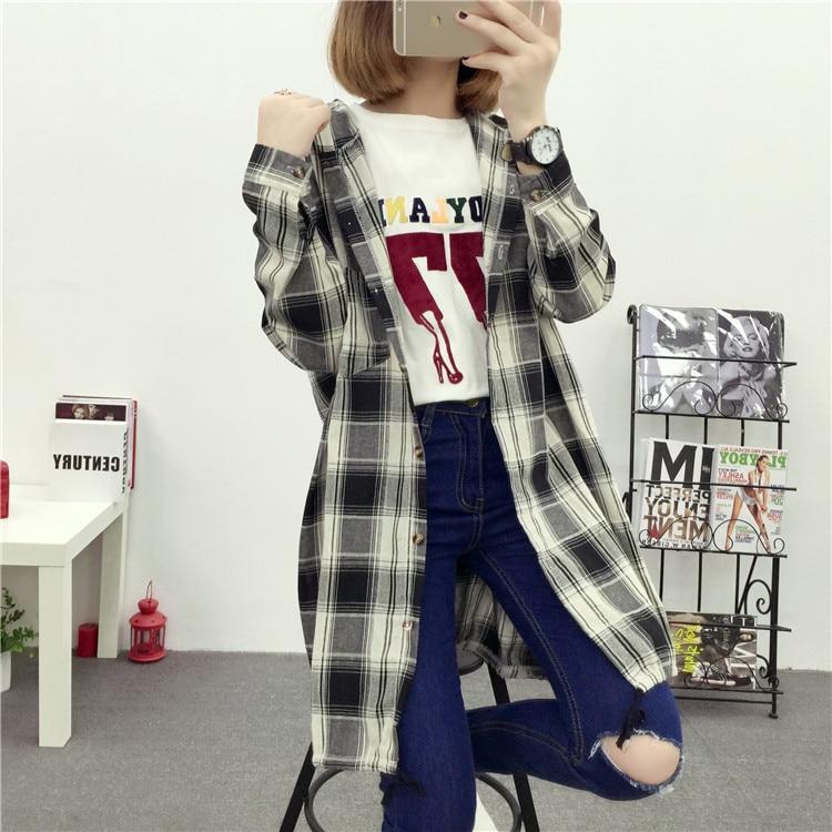 Brand Yan Qing Huan 2018 Spring Long Paragraph Large Size Plaid Shirt Fashion New Women's Casual Loose Long-sleeved Blouse Shirt 30 Online shopping Bangladesh