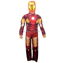 Children the avengers Iron man costume with musle .stretchy party clothes ,clothing for kid C44132(China)