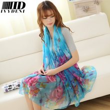 190*110cm 2017 Summer Print Silk Scarf Oversized Chiffon Scarf Women Wrap Sarong Sunscreen Pareo Beach Cover Up Long Cape Female