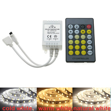 LED Color Temperature Controller IR Remote 24 Key CCT LED Strip Warm White Cold White Control DC12-24V Light Adjustment